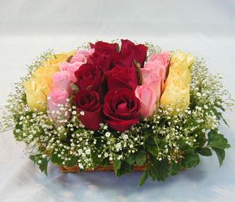 15 adet reprenkli gül sepeti   Edirne internetten çiçek siparişi
