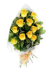Edirne ucuz çiçek gönder  12 li sari gül buketi.