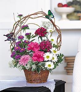 Edirne online çiçekçi , çiçek siparişi  sepet içerisinde karanfil gerbera ve kir çiçekleri