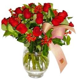 Edirne anneler günü çiçek yolla  11 adet kirmizi gül  cam aranjman halinde