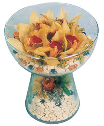 Edirne hediye sevgilime hediye çiçek  Cam içerisinde 4 adet kandil orkide