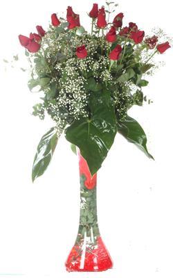 Edirne çiçek yolla , çiçek gönder , çiçekçi   19 ADET GÜL VE FIL CAM AYAGI