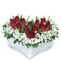 Edirne çiçek mağazası , çiçekçi adresleri  mika kalp içerisinde 9 adet kirmizi gül