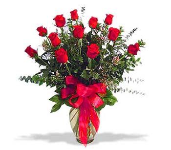 çiçek siparisi 11 adet kirmizi gül cam vazo  Edirne güvenli kaliteli hızlı çiçek