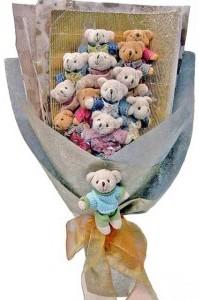12 adet ayiciktan buket tanzimi  Edirne yurtiçi ve yurtdışı çiçek siparişi