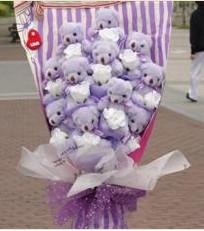 11 adet pelus ayicik buketi  Edirne çiçekçiler