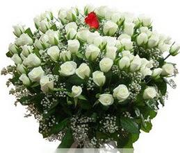 Edirne çiçek online çiçek siparişi  100 adet beyaz 1 adet kirmizi gül buketi