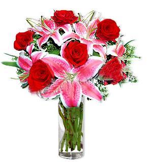 Edirne internetten çiçek siparişi  1 dal cazablanca ve 6 kırmızı gül çiçeği