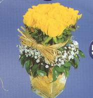 Edirne çiçek gönderme sitemiz güvenlidir  Cam vazoda 9 Sari gül