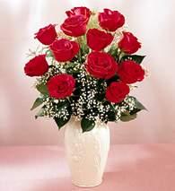 Edirne anneler günü çiçek yolla  9 adet vazoda özel tanzim kirmizi gül