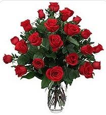 Edirne hediye sevgilime hediye çiçek  24 adet kırmızı gülden vazo tanzimi