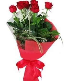 5 adet kırmızı gülden buket  Edirne çiçek , çiçekçi , çiçekçilik