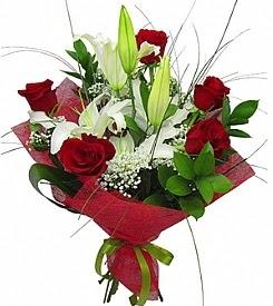 1 dal kazablanka 5 kırmızı gül buketi  Edirne çiçek , çiçekçi , çiçekçilik