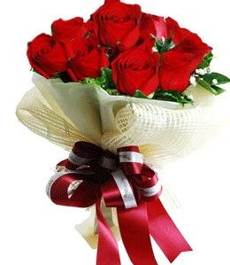 9 adet kırmızı gülden buket tanzimi  Edirne çiçekçiler
