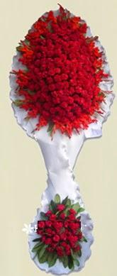 Çift katlı kıpkırmızı düğün açılış çiçeği  Edirne çiçek gönderme sitemiz güvenlidir