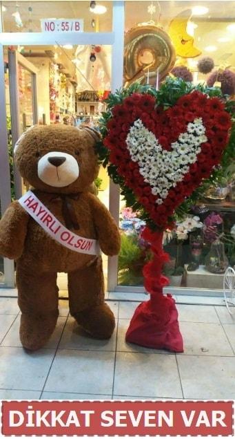 1.5 Metre peluş ayı ve Kalp  Edirne çiçekçiler