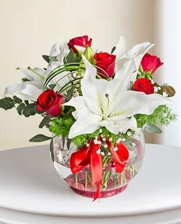 Fanus Vazoda 2 Lilyum ve 5 Gül Dansı  Edirne çiçek siparişi vermek