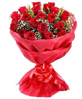 21 adet kırmızı gülden modern buket  Edirne çiçek siparişi vermek