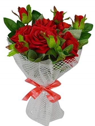 9 adet kırmızı gülden sade şık buket  Edirne online çiçek gönderme sipariş