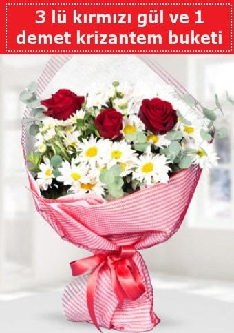 3 adet kırmızı gül ve krizantem buketi  Edirne çiçekçiler